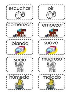 This is a memory card game for synonyms in Spanish .Has 25 pairs, each card has a picture and a word the match will be the synonym with the same picture.The last page is label you can print in the back of the card.Used mainly for centers. Spanish Teaching Resources, Spanish Activities, Spanish Language Learning, Hands On Activities, Social Studies Activities, Speech Therapy Activities, Kindergarten Graduation Songs, Spanish Basics, Learn Spanish