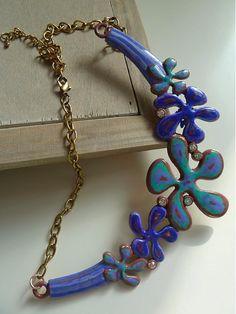 Martinuska / Modrý kvetinový náhrdelník