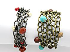 Chain Mail Beaded Charm Bracelet