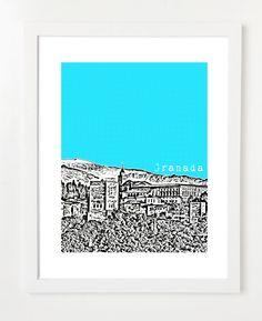 Alhambra print.    Granada Spain -  City Skyline Art Print  - 8x10. $20.00, via Etsy.