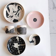 Our collab pieces with illustrations by @we.are.clay Have to pack some today and deliver them to the new owners. Would be nice to have them around a little bit longer. #cantletgo #handmade #ceramics #pottery #illustration #collab