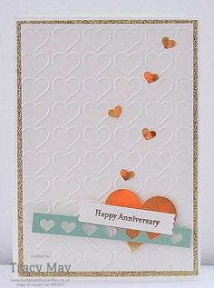Happy Heart Embossing Folder from Stampin' Up! - Golden Anniversary Card