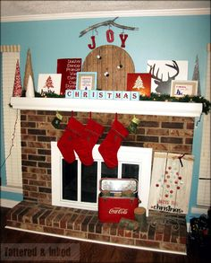 20 Awe inspiring Mantels and Christmas. We do not have a fire place.  But I can do a faux-place with construction paper. That would be totally cute!