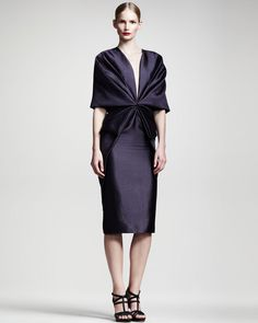 Gathered Halfsleeve Dress - Haider Ackerman. Interesting patternmaking, front & sleeve