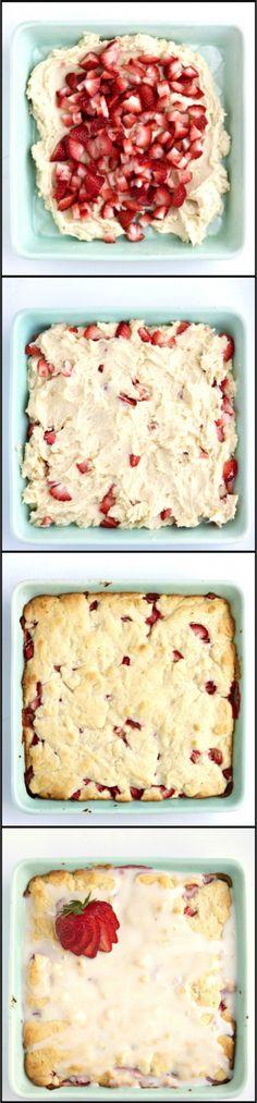 lemon strawberry bars with lemon glaze