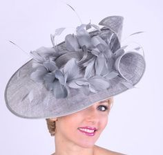 Silver-Grey Feather Profile Fascinator for the Derby by Hat-A-Tude