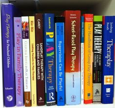 A sampling of some of the clinical play therapy books in the collection of Pam Dyson, MA, LPC, RPT.