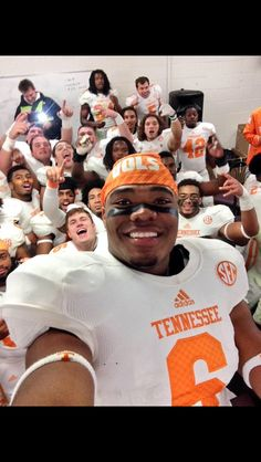 Todd Kelly Jr. celebrating the win over SC with the team! GBO!