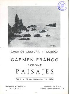 Carmen Franco expone paisajes en la Casa de Cultura de Cuenca Noviembre 1984 #CasaCulturaCuenca #CarmenFranco