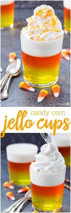 #candycornjellocups #jellocups #candycorn #halloween #jellotreats Halloween Party Treats, Halloween Desserts, Holiday Treats, Diy Halloween, Holiday Recipes, Fall Treats, Halloween Shots, Halloween Baking, Halloween Queen
