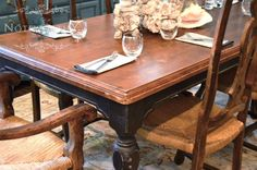 Black farm house dining table  love love love the old English feel of mahogany and black!