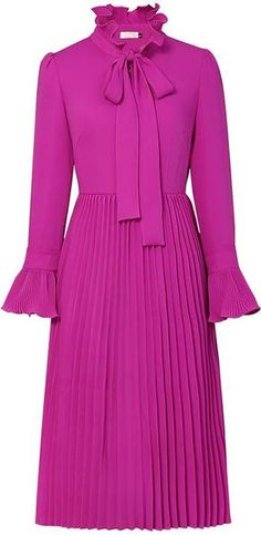 Ruffle Pleated Midi Dress So modifications have to be done for my body shape but I just love it Girly Outfits, Classy Outfits, Chic Outfits, Work Outfits, Look Fashion, Autumn Fashion, Womens Fashion, Fashion Trends, Pretty Dresses