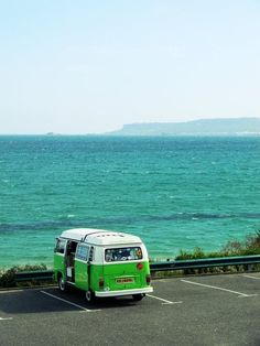 Ah, V Dub bus and the ocean... yes please.  AND, notice teal and chartruese.... allllllways goes togther. ;)