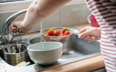 How to Wash Berries for Best Results   Taste of Home How To Wash Strawberries, Rhubarb Recipes, Lemon Bars, Taste Of Home, Grubs, In The Flesh, Eating Plans, Dinner Plates, Blueberry