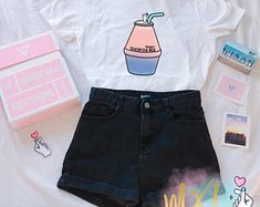Seventeen Milk Kpop T-Shirt By Maggie Liu and Jenni Tumblr Outfits, Kpop Outfits, Korean Outfits, Girl Outfits, Cute Outfits, Fashion Outfits, Look Fashion, Korean Fashion, Girl Fashion