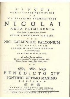 SANCTI CONFESSORIS PONTIFICIS NICOLAI ACTA PRIMIGENIA di Falcone REPRINT 1751