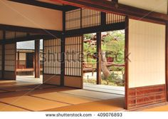 KYOTO, JAPAN - APRIL 16, 2011: Traditional style minimalist room at Tenryu-ji…