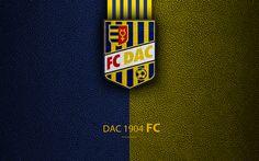 Download wallpapers FC DAC 1904, Dunajska Streda, 4k, Slovak football club, logo, leather texture, Fortuna liga, Slovakia, football