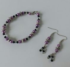 Purple Pearl and Black Crystal Beaded Bracelet and Dangle Earrings