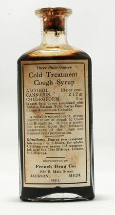 Alcohol, chloroform, and cannabis. Old Medicine Bottles, Antique Bottles, Vintage Bottles, Bottles And Jars, Apothecary Bottles, Vintage Perfume, Antique Glass, Medicine Cabinet, Perfume Bottles