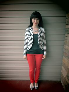Dressing Your Truth T4 look for Fall/ Winter...DYT Type 4 Four...Silver Tank Top, Black and White Striped Jacket, Red Pants