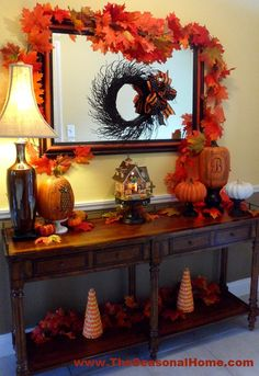 This Fall, I'm definitely into pumpkins and the warmth of falling leaves and I think the foyer is the perfect place to display a family-representative pumpkin as well as one that says… … Harvest Decorations, Thanksgiving Decorations, Seasonal Decor, Outdoor Thanksgiving, Fall Home Decor, Autumn Home, Fall Entryway Decor, Autumn Decorating, Decorating Ideas
