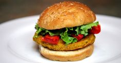 Sweet Potato, Chickpea, and Quinoa Veggie Burger With Roasted Peppers ..not very good :(