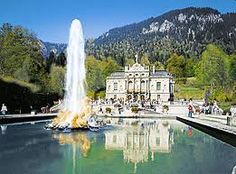 Linderhof Castle...this beautiful castle is the smallest of King Ludwig II's three castles and is located near Oberammergau.  It has a beautiful grotto (Venus Grotto), a room of gold and mirrors, and many other spectacular spaces.