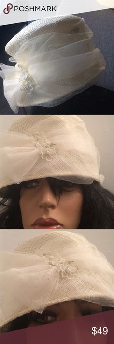 Gorgeous hat Cream woven straw chapeau with netting and flower with pearls sewn on.worn once to party❤️ Allyssa Other