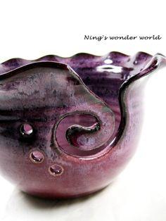 Yarn bowl Knitting bowlpurple raspberry wine by Ningswonderworld, $38.00    This is lovely. :)
