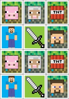 Minecraft Stickers Printable                                                                                                                                                                                 Más