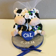 Mucca personalizzato Wedding Cake Topper di carlyace su Etsy