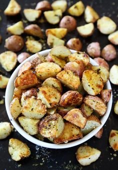 3-Ingredient Roasted Parmesan Pesto Potatoes Recipe on twopeasndtheirpod.com You only need 3 ingredients to make these crispy and delicious potatoes. They are a great side dish to any meal!