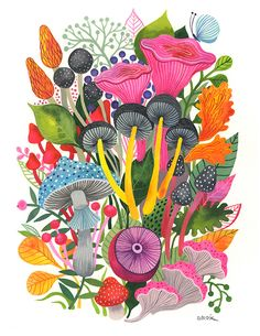 Mushrooms Bouquet... - limited edition giclee print of an original watercolor illustration (8 x 10 in) by helendardik on Etsy https://www.etsy.com/ca/listing/472235674/mushrooms-bouquet-limited-edition-giclee