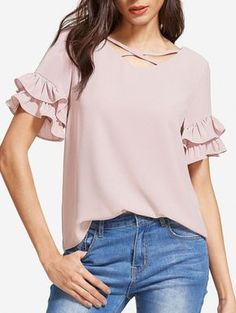 online shopping for MakeMeChic Women's Summer Crisscross Ruffle Short Sleeve Casual Blouse Tops from top store. See new offer for MakeMeChic Women's Summer Crisscross Ruffle Short Sleeve Casual Blouse Tops Formal Tops, Dressy Tops, Blouse Styles, Blouse Designs, Top Chic, Look Fashion, Fashion Outfits, Ladies Fashion, Sewing Blouses