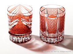 Ice-Cocktail Glasses  EDO-KIRIKO (WAVE & SWORD) by HORIGUCHI GLASS