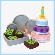 Cakes and Brownies - a PDF Pattern for Felt Food by Bugga Bugs!