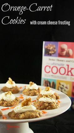 Orange-Carrot Cookies with Cream Cheese Frosting #recipe