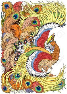 Illustration about Phoenix or feng huang mythological bird . Illustration of chine, magic, symbol - 94520334 Phoenix Drawing, Phoenix Art, Japanese Pheonix Tattoo, Feng Shui Animals, Animal Symbolism, Mythological Creatures, Banner Printing, Op Art, Japanese Art