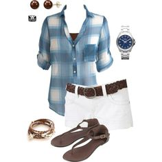 Casual plaid & shorts, created by parochick on Polyvore