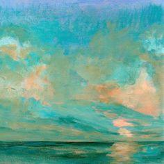 GreenBox Art + Culture 'Northern Sun' 18 x 18-inch Stretched Canvas Wall Art, Blue