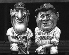 Babe Ruth Lou Gehrig cartoon caricature art poster print 8.5x11 by Battaglioli
