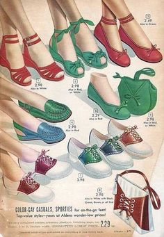 Age Anniversary Catalog - 1949 - Vintage Patterns and Fashion - Shoes 1940s Fashion, Look Fashion, Fashion Shoes, Vintage Fashion, Sixties Fashion, Victorian Fashion, Fashion Fashion, Trendy Fashion, Fashion News