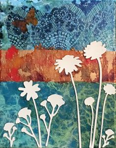 """""""White Flowers"""" by Sue Clover. An layered painting with painted used dryer sheets, purchased handmade paper, scrapbook embellishments flowers, and a punched dry leaf on stretched canvas with paint extending to sides. Layer Paint, Dry Leaf, Scrapbook Embellishments, Stretched Canvas, Dryer, White Flowers, Moose Art, Mixed Media, Paintings"""