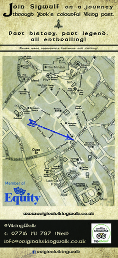 Join Sigwulf on a tour of the ancient Capital of the North & hear about the city's Anglo-Scandinavian & Norman past as we take in various sites along the way. Learn how the streets got their names & what they mean; discover how those pesky Pagans shaped the Christian church; & wonder how those naughty Normans ever survived in the north in spite of themselves.  www.facebook.com/originalvikingwalk   e: info@originalvikingwalk.co.uk   t: +44(0)7716141787 (Neil) @VikingWalk…