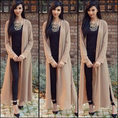 I'm loving this maxi cardigan from ya'll know I love my long style outfits, they look modest & classy and make such a statement! Hope you're all well In'Sha'Allah love you all! Ethnic Fashion, Asian Fashion, Hijab Fashion, Girl Fashion, Fashion Dresses, Pakistani Dresses, Indian Dresses, Indian Outfits, Stylish Dresses