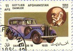 Daimler DB 18, 1935 by Gottlieb Daimler. Afghanistan Post stamp  1984