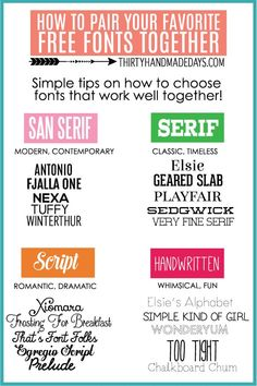 How to pair your favorite fonts- how I put mine together and what I think works best together!