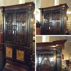 China Cabinet - Lg. Black Painted China Cabinet.. Texas Leather Interiors Retails@ $3500. - $1399.95 | Too Good To Be Threw Designer Consignments - San Antonio, TX