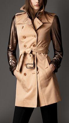 Burberry London Mid-Length Metallic Leather Sleeve Trench Coat